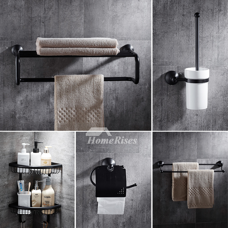 5-Piece Black Bathroom Accessories Set Oil-Rubbed Bronze