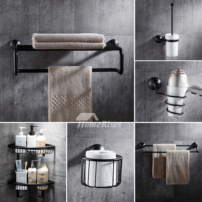5 piece black brass bathroom accessories set oil rubbed bronze - Rubbed oil bronze bathroom accessories ...