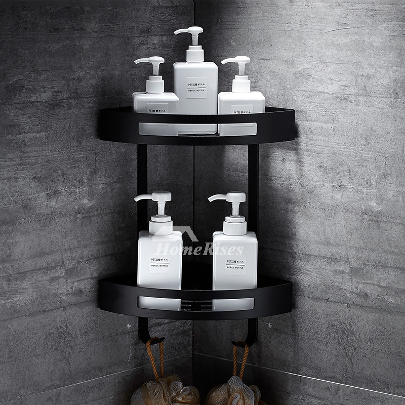 Designer Black Bathroom Shelves Corner Wall Mount