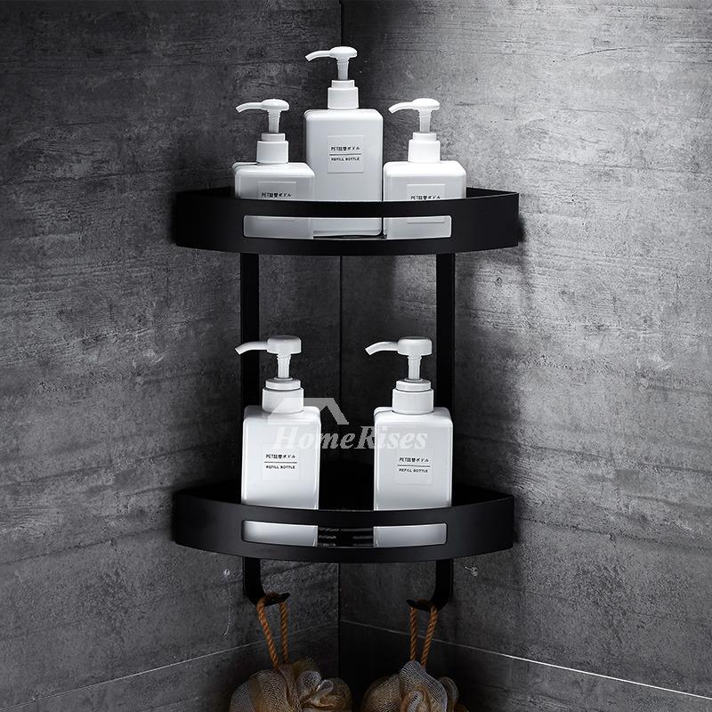 Designer Black Bathroom Shelves Corner