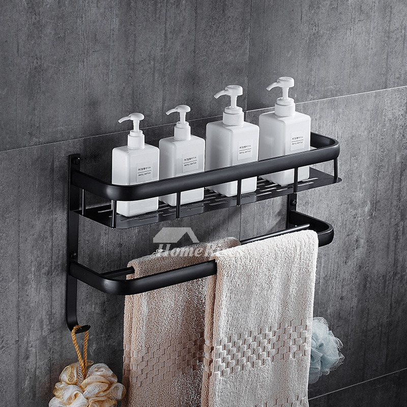 Solid Wall Mount Towel Rack Black Bathroom