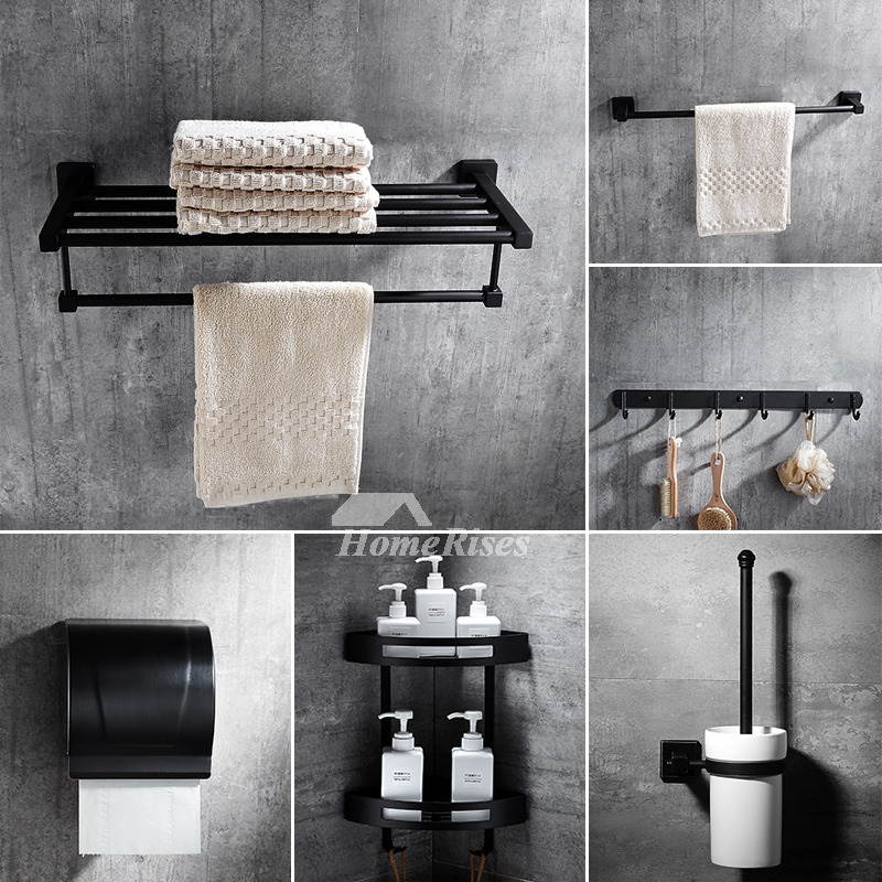 6 piece black bathroom accessories sets wall mount for Bathroom fittings set