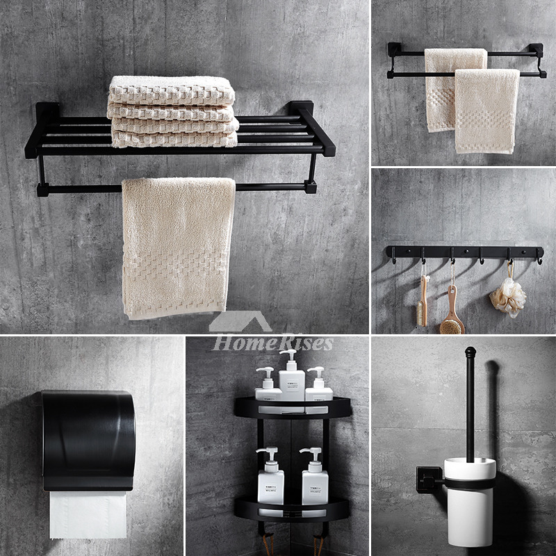 6 piece black stainless steel wall mounted bathroom accessories sets