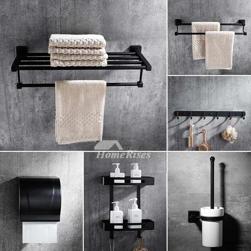 6 Piece Black Stainless Steel Wall Mounted Bathroom