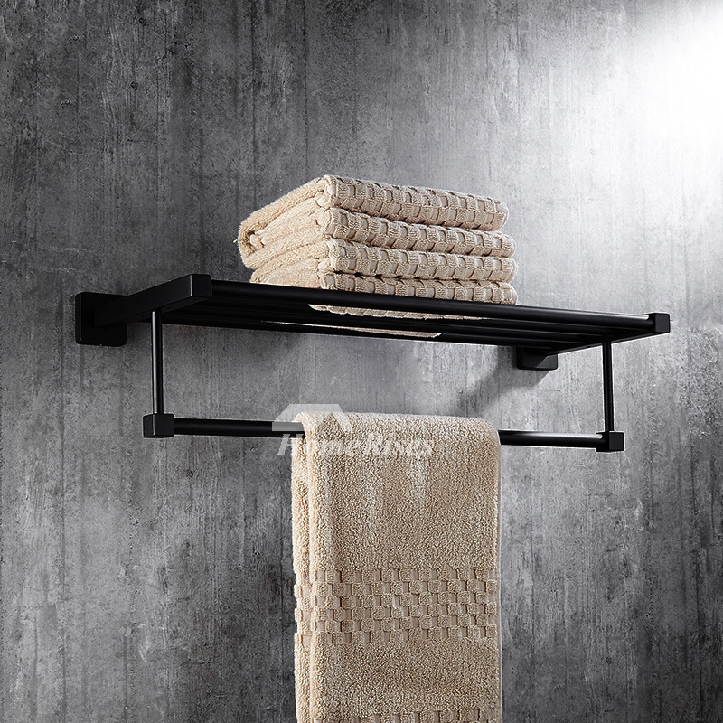 Solid Oil Rubbed Bronze Towel Rack Shelf Black Bathroom