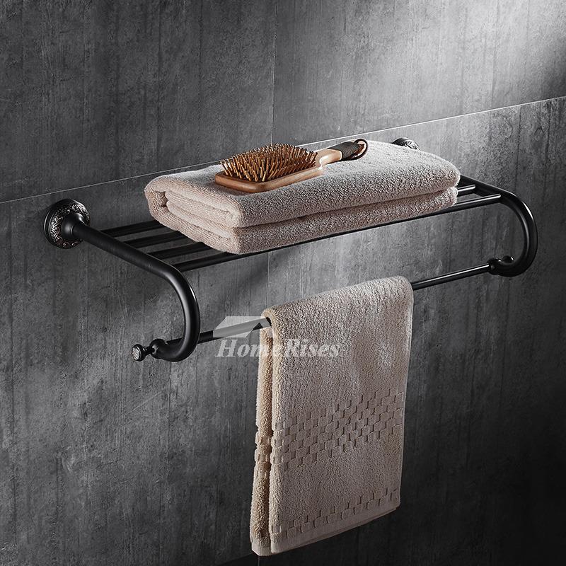 Affordable black towel rack wall mount brass orb for Bathroom accessories racks