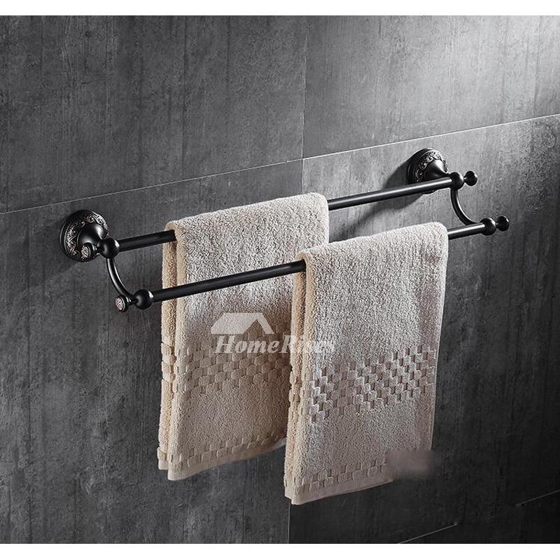 Affordable Black Towel Rack Wall Mount Brass Orb