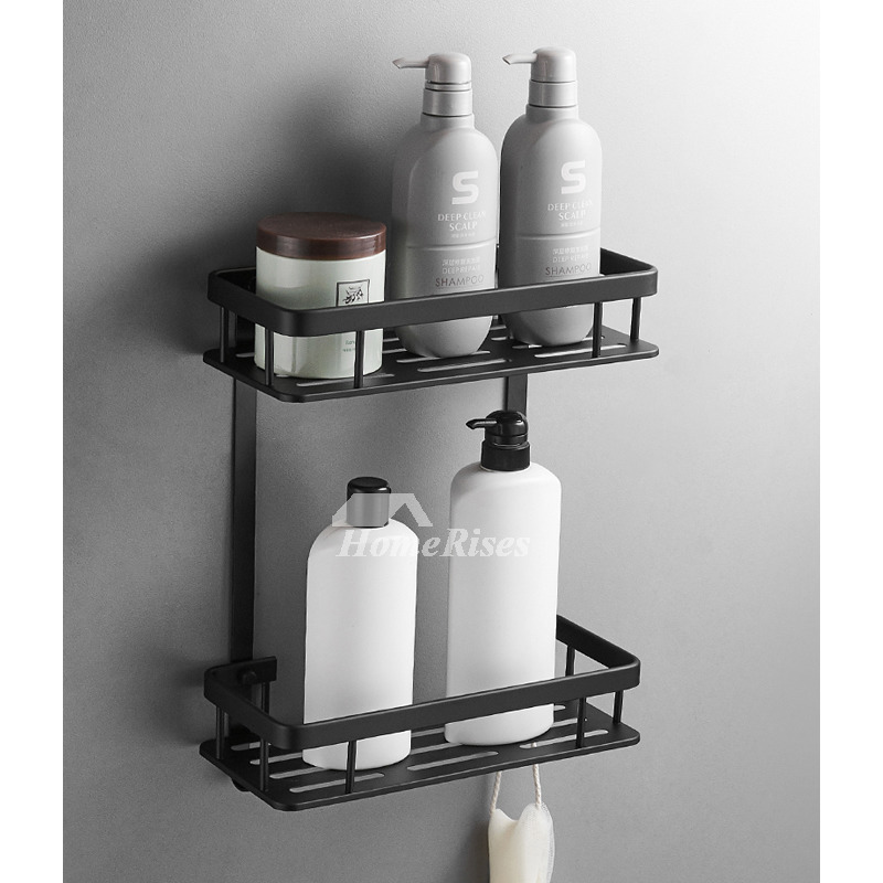 Best Rectangular Shaped Small Bathroom Wall Shelf Black