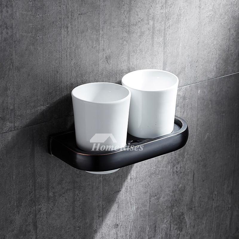 Black toothbrush holder wall mount glass bathroom for Black glass bathroom accessories