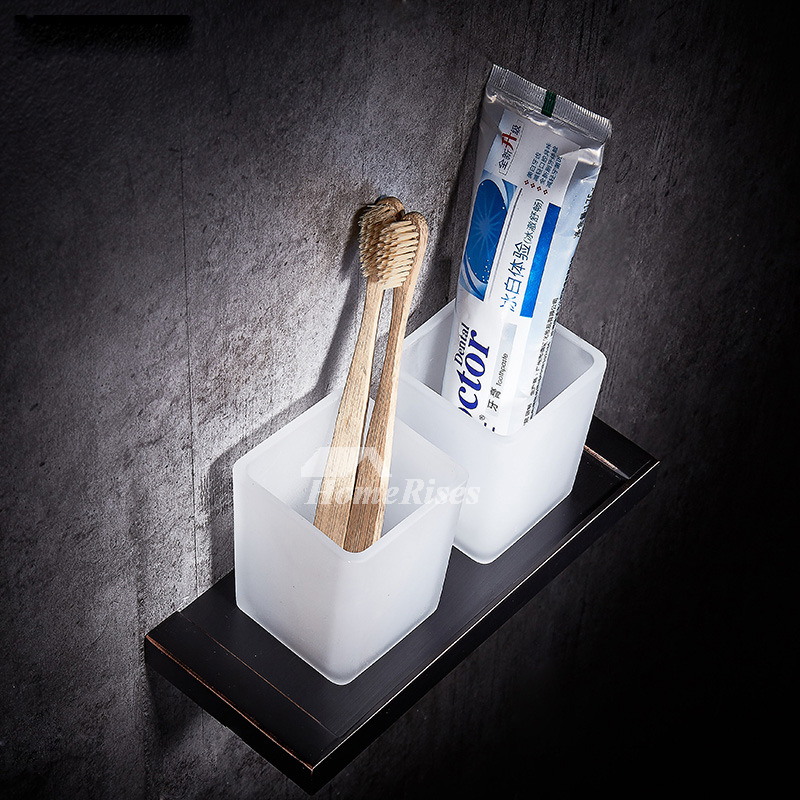 Black Toothbrush Holder Wall Mount Glass Bathroom