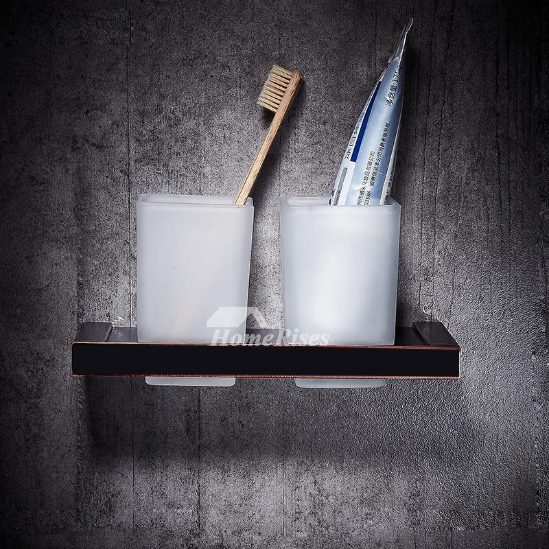 Black Toothbrush Holder Wall Mount Glass Bathroom
