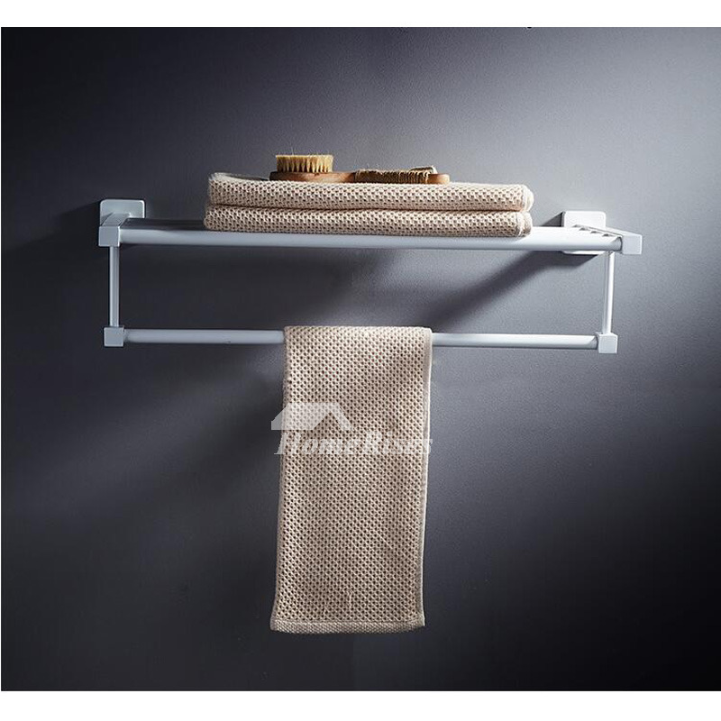 Modern Wall Mount White Towel Rack Bathroom
