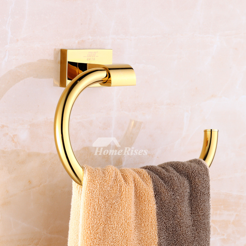 Gold Towel Ring Wall Mount Polished Brass
