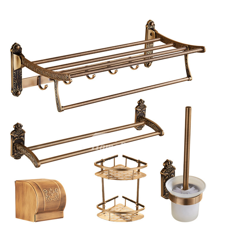 5-Piece Antique Brass Bathroom Hardware Sets