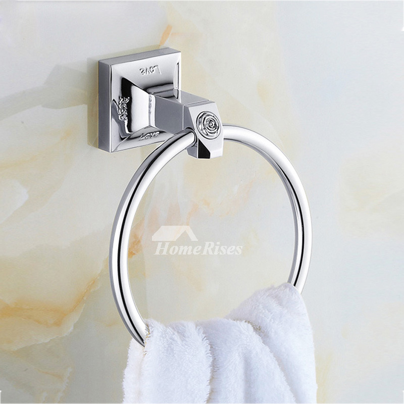 Chrome Towel Rings Silver Wall Mount Bathroom