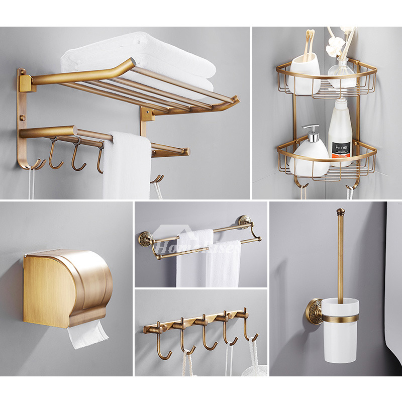 6-Piece Antique Brass Wall Mount Gold Bathroom Accessories Set
