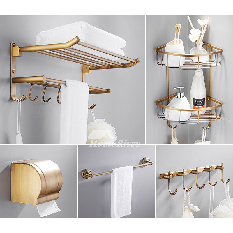 6 Piece Antique Brass Wall Mount Gold Bathroom Accessories Set