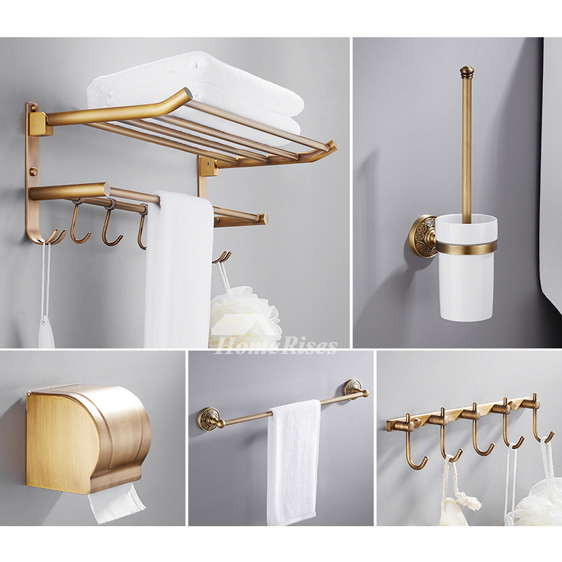 6 piece antique brass wall mount gold bathroom accessories set for Home bathroom accessories