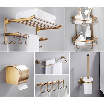 6 Piece Antique Br Wall Mount Gold Bathroom Accessories Set