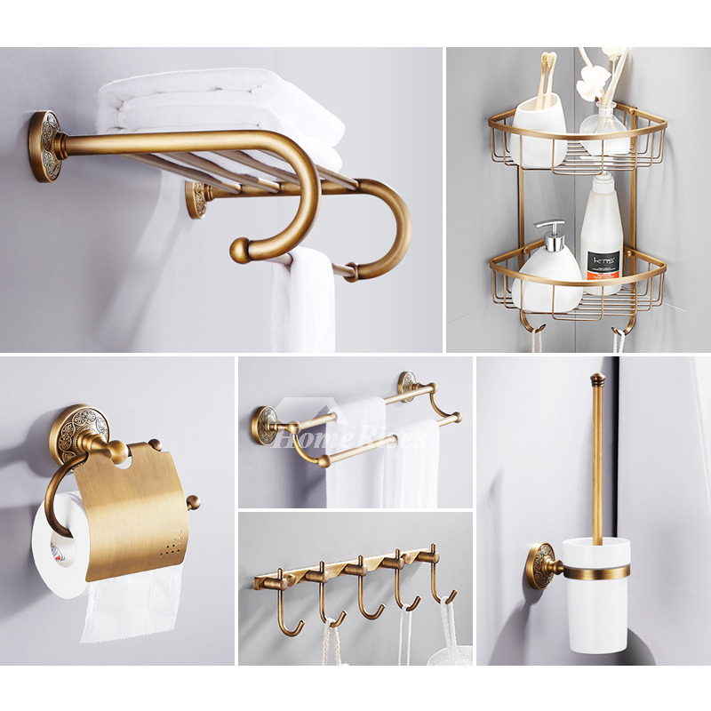 6-Piece Antique Brass Bathroom Hardware Sets