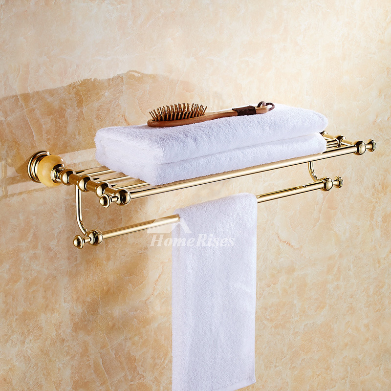 Polished Brass Wall Mount Marble Gold Bathroom Accessories Sets