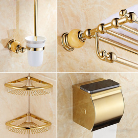6 piece antique brass wall mount gold bathroom accessories set. Black Bedroom Furniture Sets. Home Design Ideas