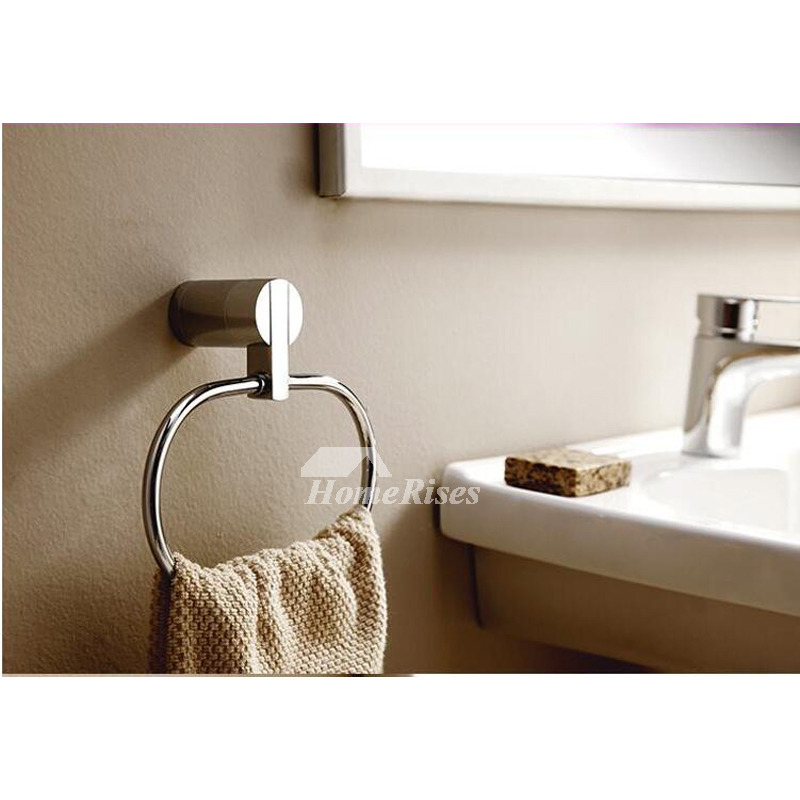Chrome Towel Ring Round Shaped Brass Bathroom