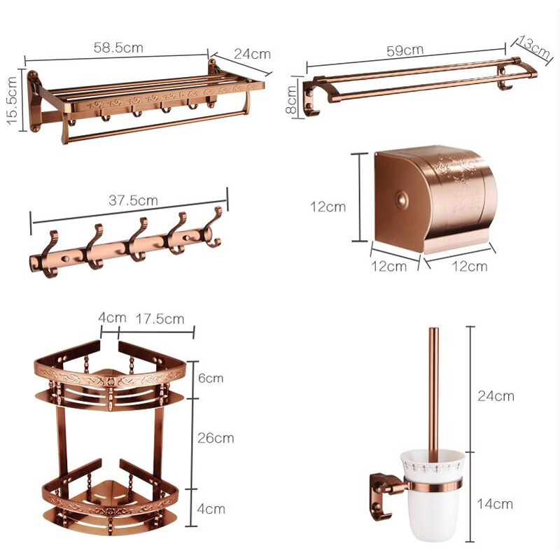 Rose gold aluminum copper bathroom accessories set for Home bathroom accessories