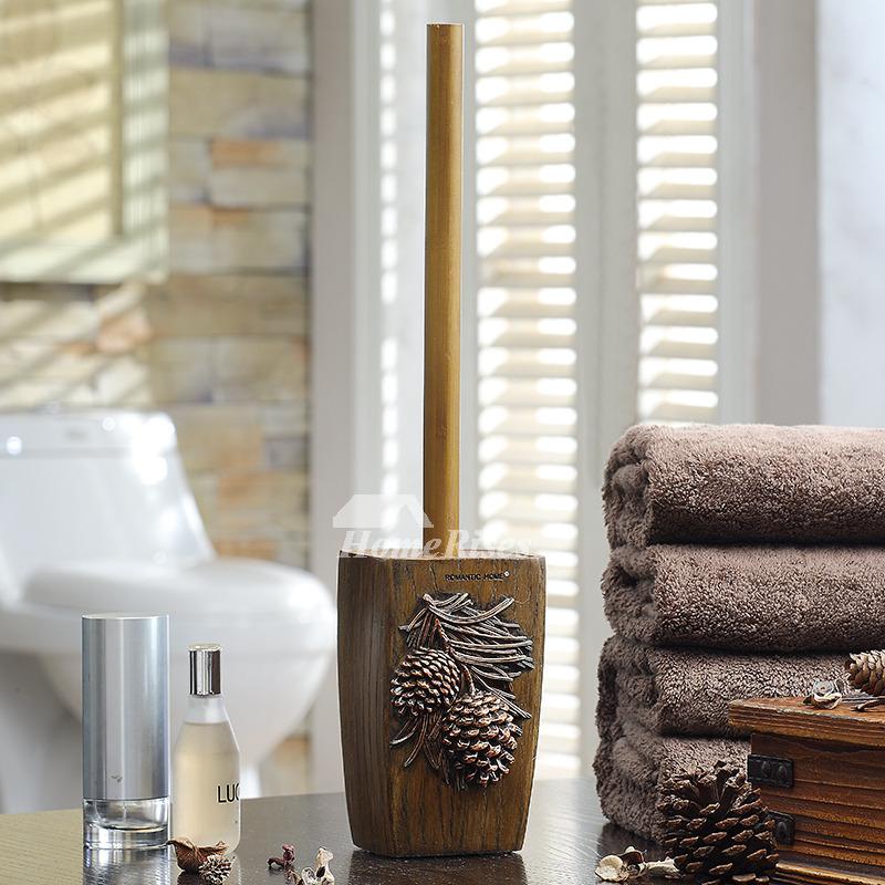 Wooden Toilet Brush Holder Free Standing Carved Bathroom