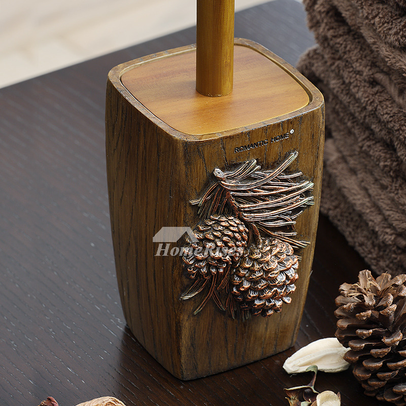 Wooden Toilet Brush Holder Free Standing Carved Bathroom