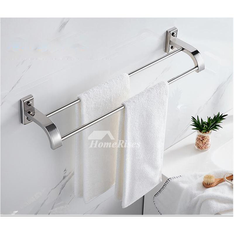 Modern 5 Piece Stainless Steel Silver Bathroom Accessories Set