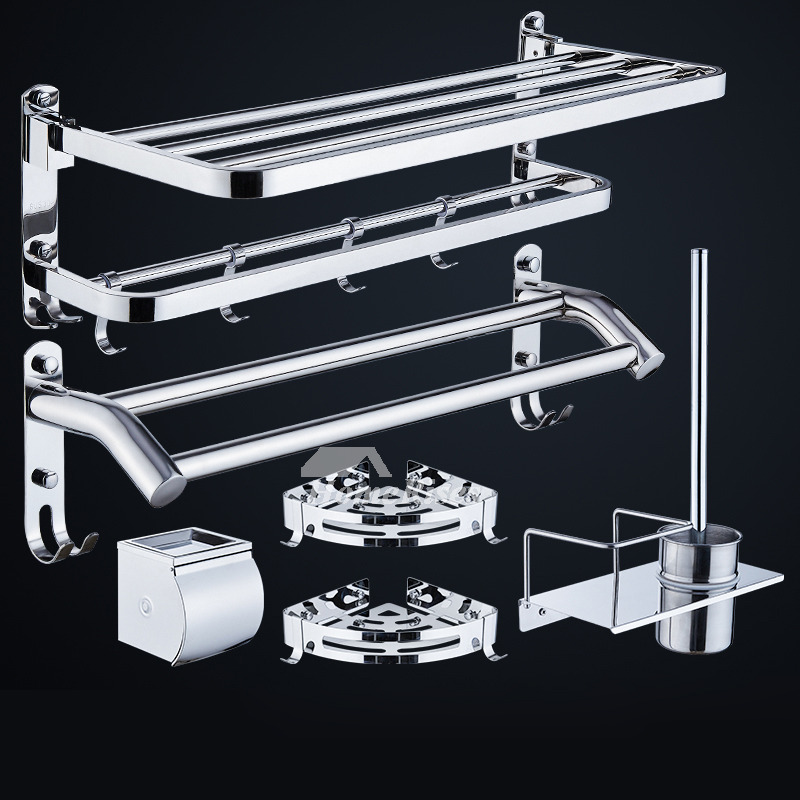 Bathroom Hardware Sets Chrome Stainless Steel No Drill Wall Mount