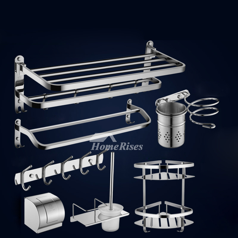 Bathroom Hardware Chrome Set Stainless Steel No Drill/Wall Mount