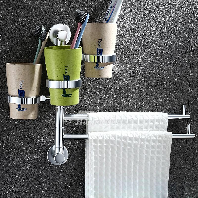 No Drill Wall Mount Bathroom Towel Racks Chrome