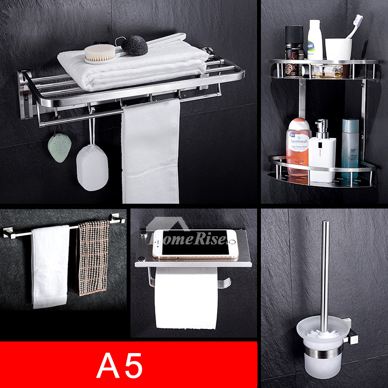 Kitchen Wall Accessories Stainless Steel: Stainless Steel Bathroom Accessories Set Chrome Wall Mount