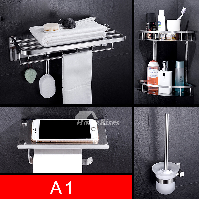Silver 4 piece stainless steel chrome bathroom accessories set for Bathroom accessories silver