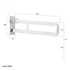 Solid Wall Mount White Grab Bar For Shower