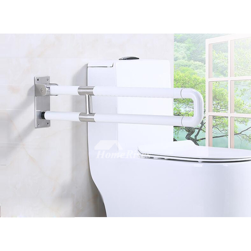 Folding Grab Bar White Stainless Steel Bathroom