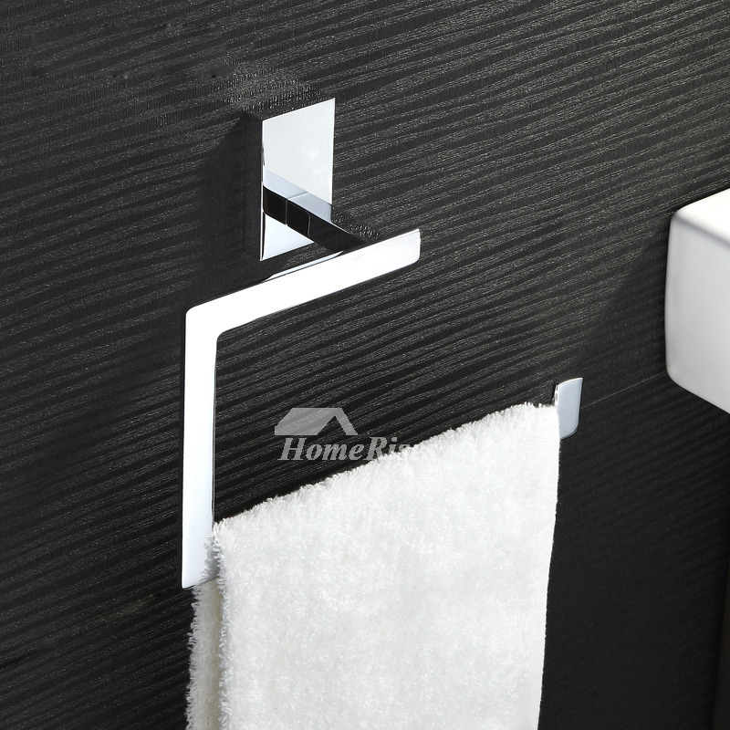 Unique Chrome Wall Mount Brass Square Towel Ring