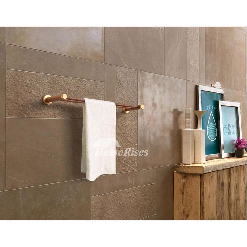 Wooden Towel Rack Wall Mount Natural Bathroom