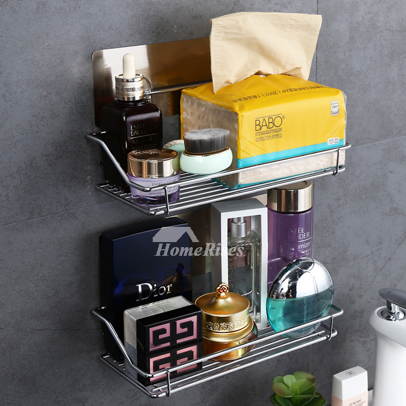 Designer Small Bathroom Shelf Suction Cup Metal ABS