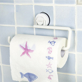 Suction Cup Toilet Paper Holder White Bathroom ABS