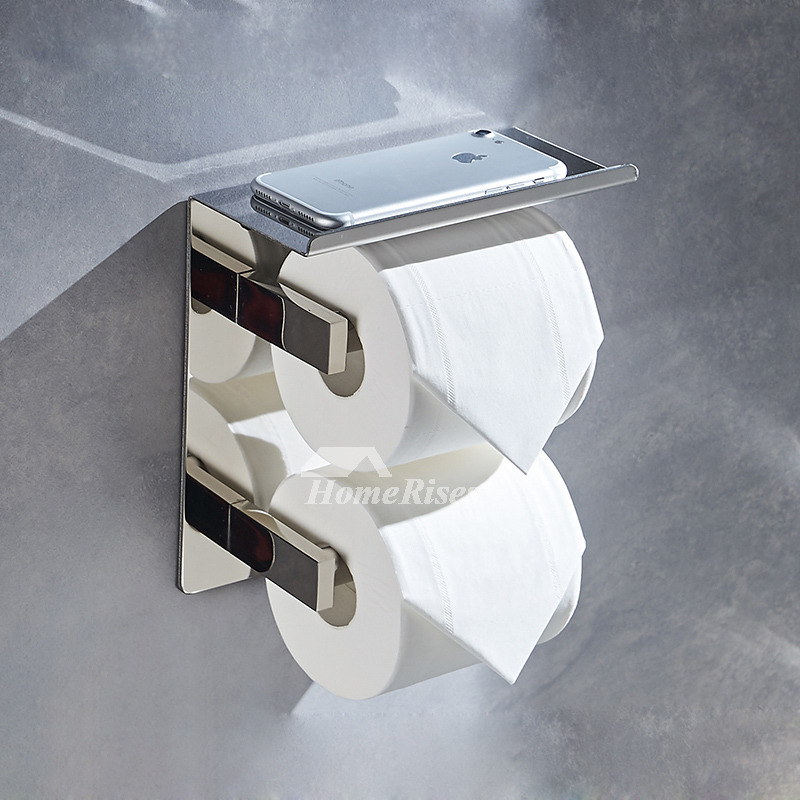 Double Toilet Paper Holder Stainless Steel Bathroom Chrome
