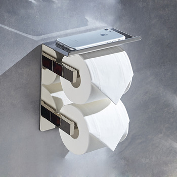 Stainless Steel Double Toilet Paper Holder