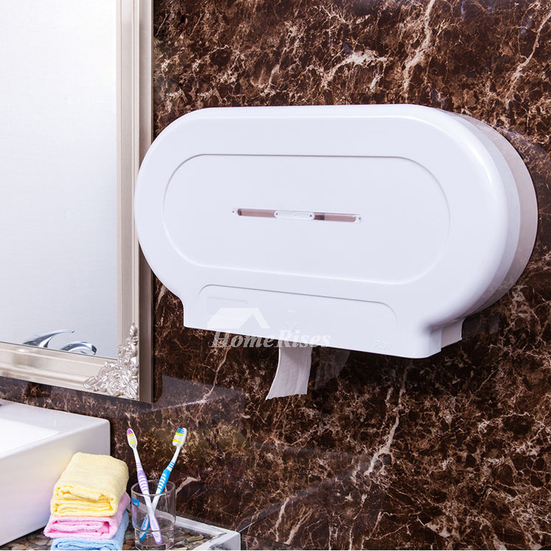 Double Toilet Paper Holder Wall Mount White Abs Plastic