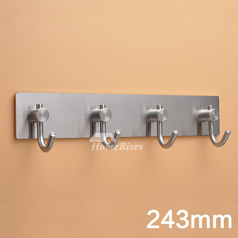 Stainless Steel Robe Hooks No Drill Silver Bathroom