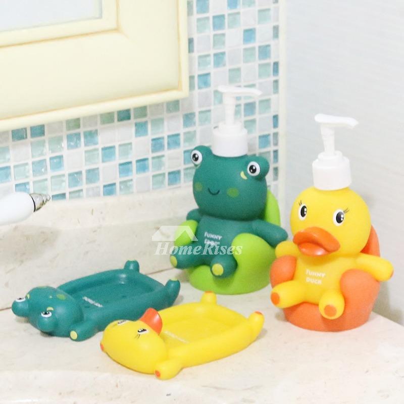 Soap Dispenser Kids Soap Dish Duck Shaped Accessory Set