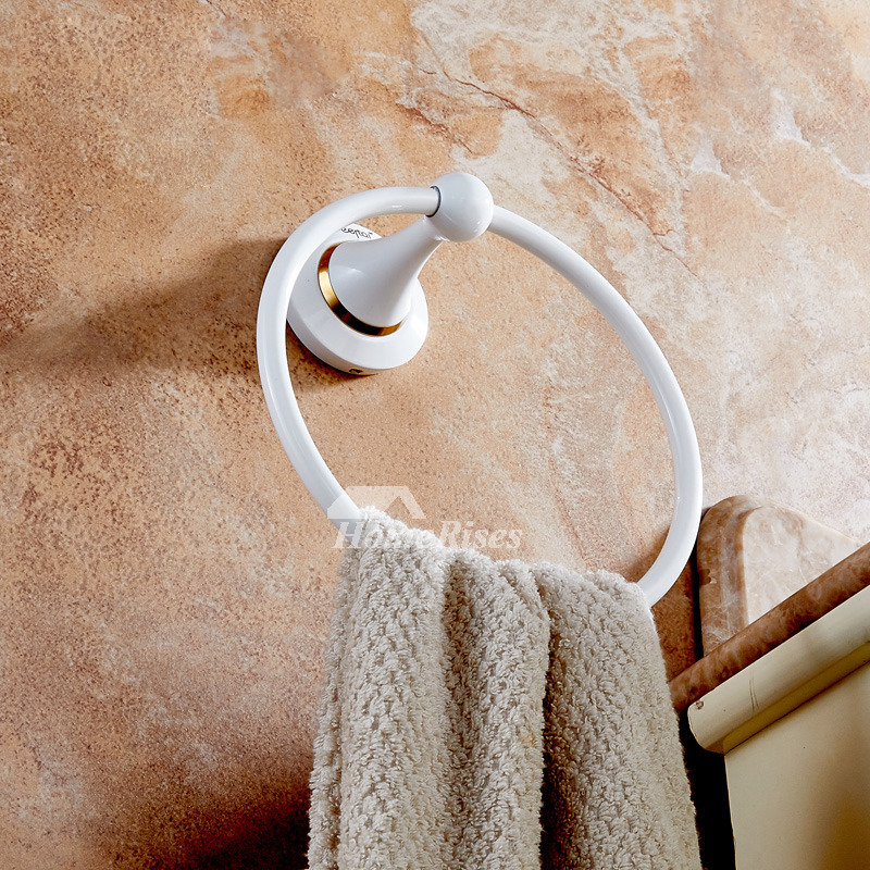White Towel Ring Wall Mount Brass Round Shaped