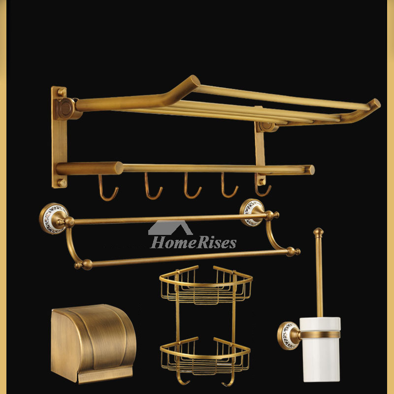 Folding Gold Bathroom Accessories Sets Antique Brass Wall