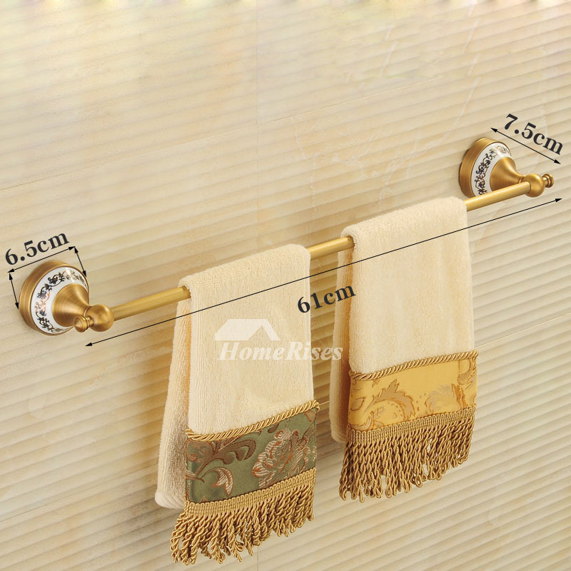 Folding Gold Bathroom Accessories Sets Antique Brass Wall Mount